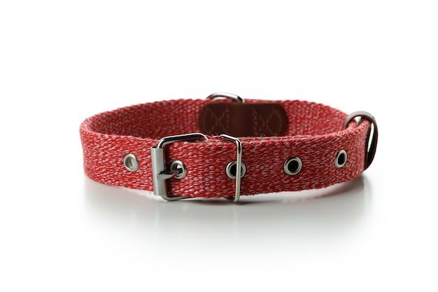 Collier pour animaux de compagnie rouge isolé sur blanc