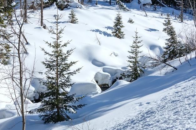 Colline de montagne enneigée d'hiver avec congères et petits sapins.