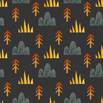 Collines d'arbres de sapin d'herbe de modèle sans couture d'aquarelle dans le style scandinave