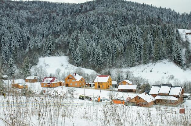 Collines couvertes de neige, forêt et maisons au loin.