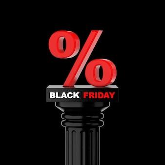 Colonne grecque classique en pierre noire avec black friday et signe de pourcentage sur fond noir. rendu 3d