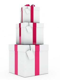 Colonne avec trois cadeaux d'anniversaire