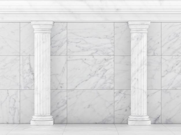 Colonnes blanches antiques isolés sur blanc