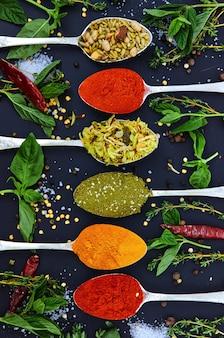 Coloré diverses herbes et épices pour la cuisson sur fond sombre.