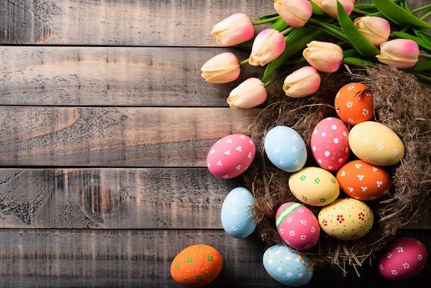 Coloré des oeufs de pâques en nid avec des tulipes roses et plume sur fond en bois.
