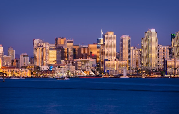 Colorful san diego skyline
