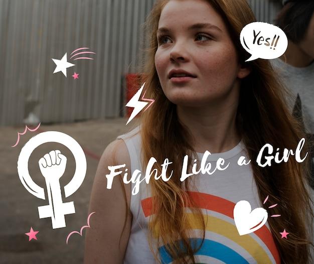 Combat comme une fille icône graphique rose