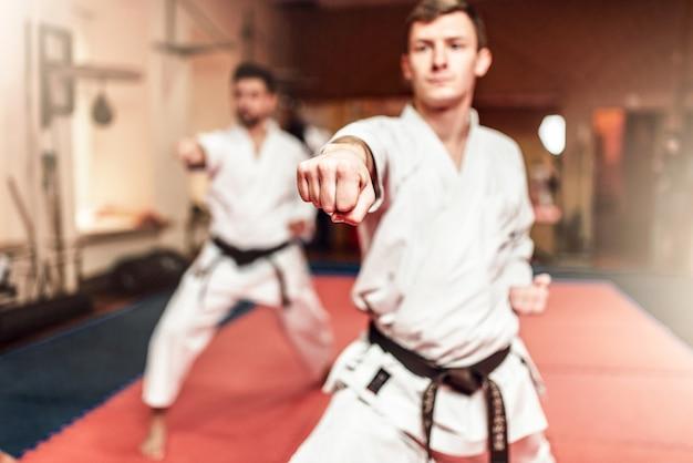 Combattants d'arts martiaux en séance d'entraînement dans une salle de sport