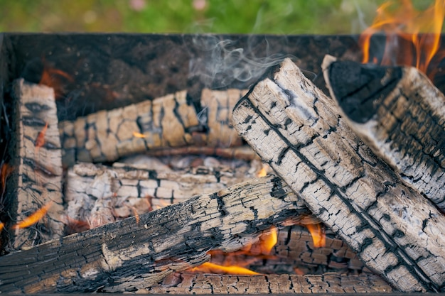 La combustion du bois dans un grill dans la nature se bouchent.
