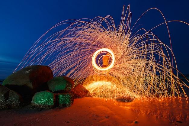 Combustion de la laine d'acier