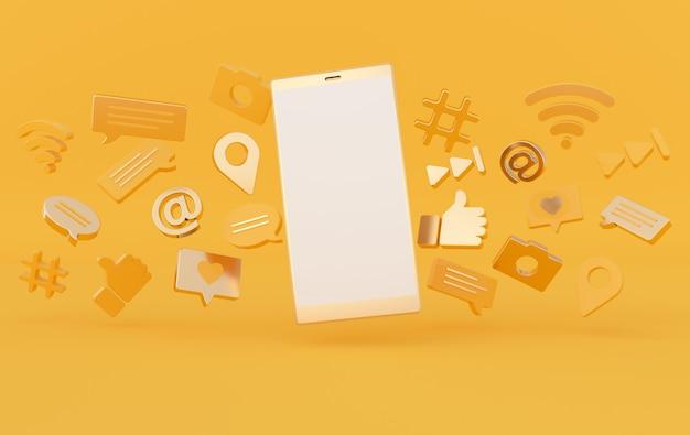 Comme, chat, bulle de commentaire, caméra, hashtag, symbole de réseau sans fil wi-fi, icônes de jeu et smartphone