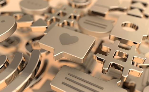Comme, chat, bulle de commentaire, caméra, hashtag, symbole de réseau sans fil wi-fi, à, icônes de jeu