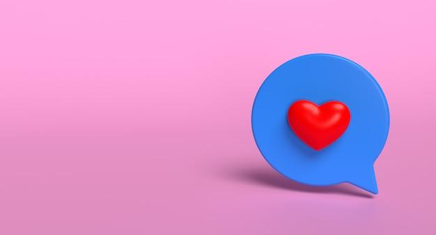 Comme l'icône 3d de bulle de médias sociaux. concept de signe d'amour de réseau. rendu 3d.