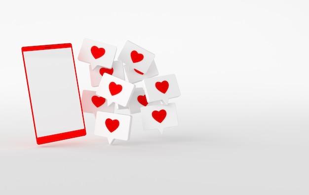 Comme l'icône du cœur sur une broche et un rendu 3d de téléphone