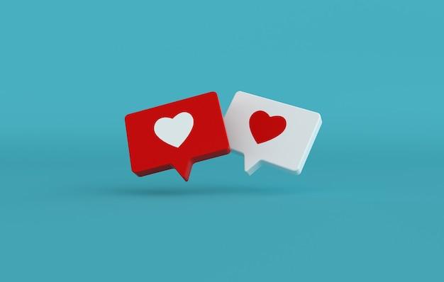 Comme l'icône du cœur sur un rendu 3d de broche rouge et blanche