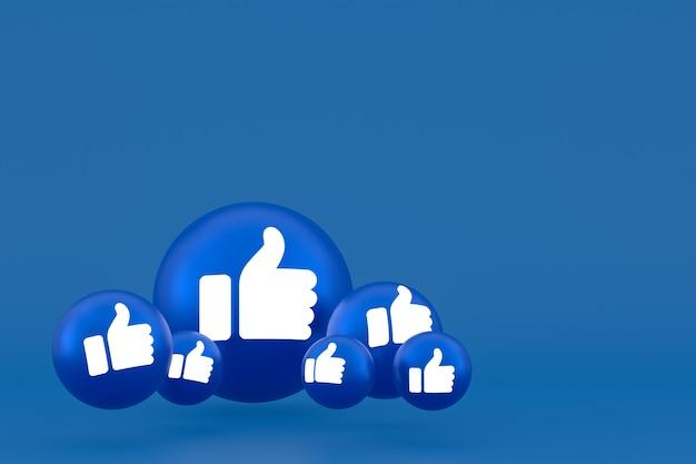 Comme l'icône facebook réactions emoji 3d render, symbole de ballon de médias sociaux sur bleu