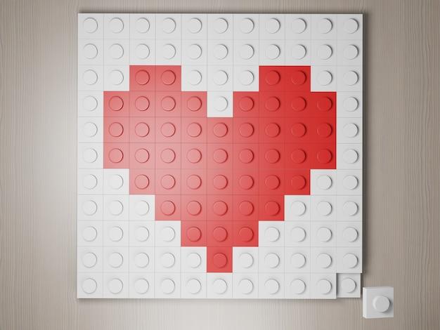 Comme l'icône faite à partir du bloc de style lego coeur rouge formé à partir du rendu photoréaliste 3d du bloc de construction