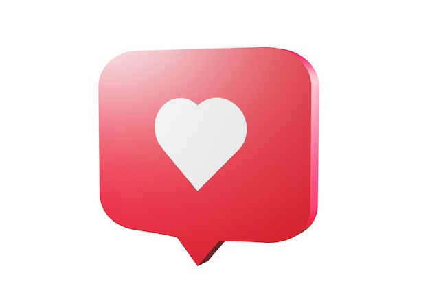 Comme l'icône de notification des médias sociaux avec le symbole du cœur. concept de succès des médias sociaux - rendu 3d
