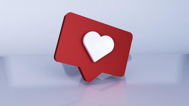 Comme une illustration 3d. notifications sur les réseaux sociaux