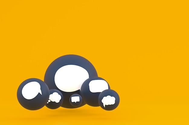 Commentaire d'idée ou pensez aux réactions emoji rendu 3d, symbole de ballon de médias sociaux avec fond de motif d'icônes de commentaire