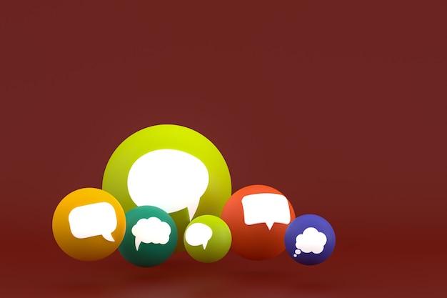 Commentaire d'idée ou pensez aux réactions emoji rendu 3d, symbole de ballon de médias sociaux avec des icônes de commentaire