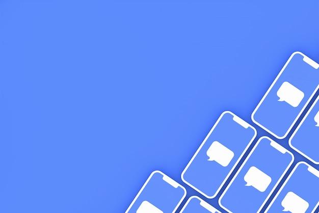Commentaire sur les médias sociaux sur smartphone à l'écran ou rendu 3d mobile