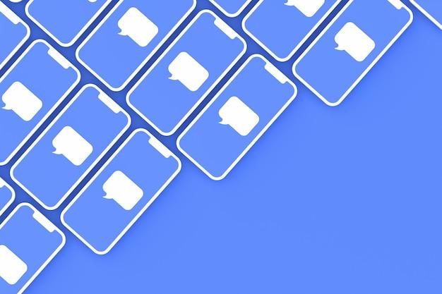 Commenter les médias sociaux sur les écrans de smartphone en rendu 3d