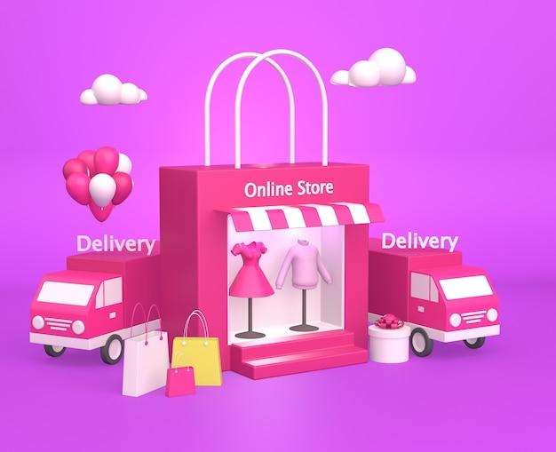 Commerce en ligne avec camions de livraison et panier