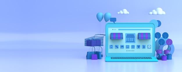 Commerce en ligne avec espace copie et ordinateur portable