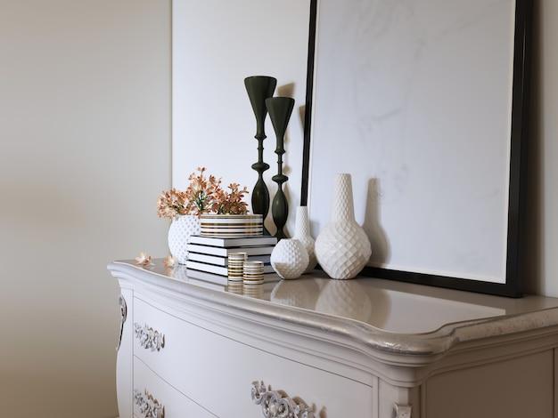 Commode classique blanche avec décor et photo. rendu 3d.