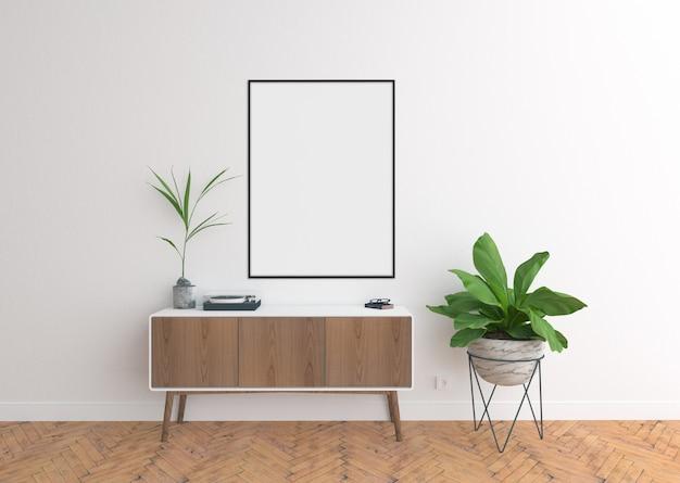Commode scène avec cadre vertical vide et cadre