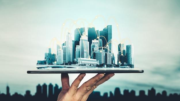 La communication créative moderne et le réseau internet se connectent dans la ville intelligente