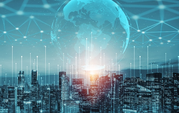 La communication créative moderne et le réseau internet se connectent dans une ville intelligente