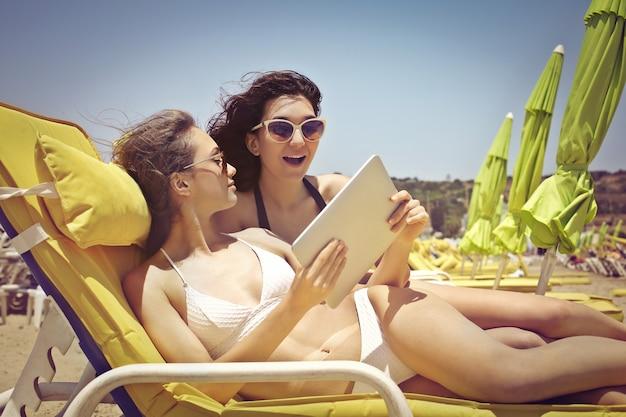 Communication via tablette en vacances