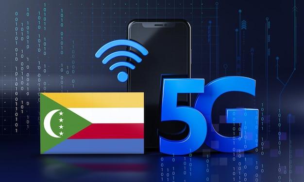 Les comores sont prêtes pour le concept de connexion 5g. fond de technologie smartphone de rendu 3d