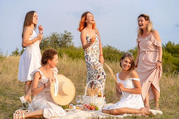 La compagnie d'amis féminins heureux et élégants s'amusant sur une partie de pique-nique de style rétro en plein air