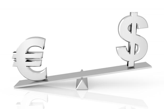 Comparaison dollar et euro. rendu 3d.