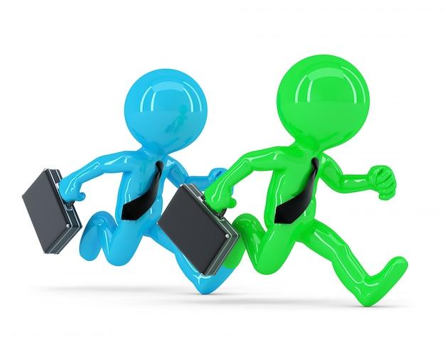 Compétition avec deux hommes d'affaires en cours d'exécution. concept d'affaire