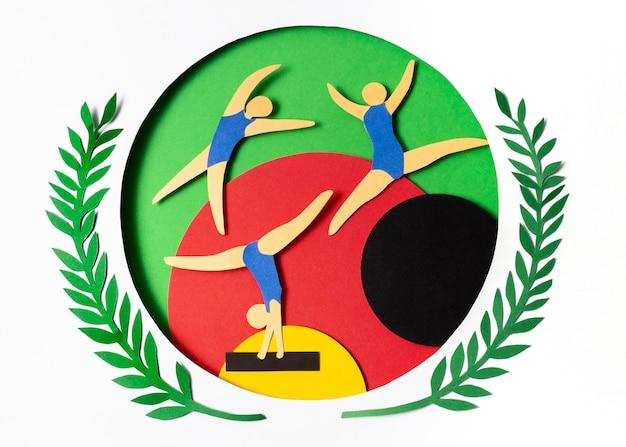 Compétition de gymnastique de style papier