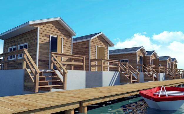 Complexe de bungalows moderne sur pilotis pour des vacances avec bateau, rendu 3d