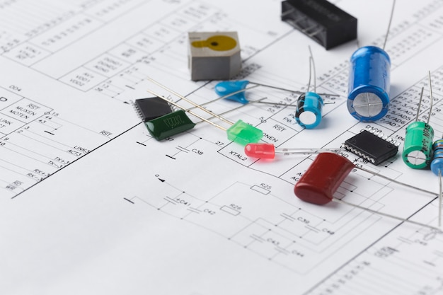 Composants électroniques en gros plan