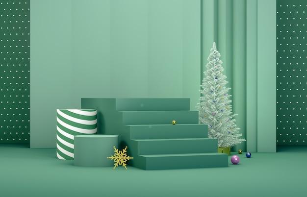 Composition 3d abstraite. fond de noël hiver avec arbre de noël et scène pour la présentation du produit.