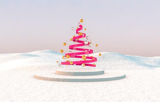 Composition 3d abstraite. fond de noël hiver avec sapin de noël.