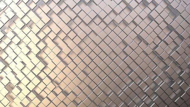 Composition abstraite en briques et cubes métalliques blancs