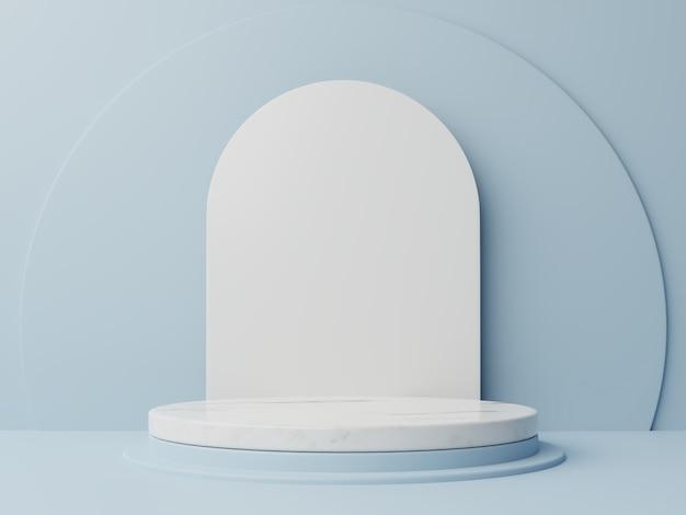 Composition abstraite de podium avec fond bleu.