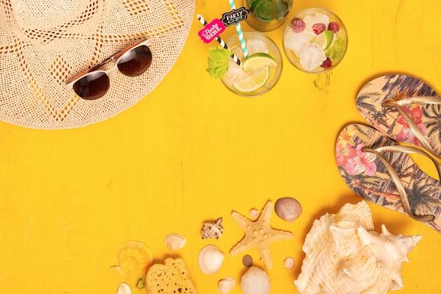 Composition sur les accessoires d'été