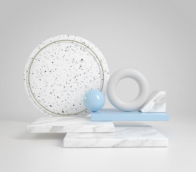 Composition d'affichage abstrait géométrique avec marbre et couleur pastel bleu