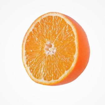 Composition d'agrumes de fruits. une moitié vibrante saine d'isolat orange sur fond de studio blanc.