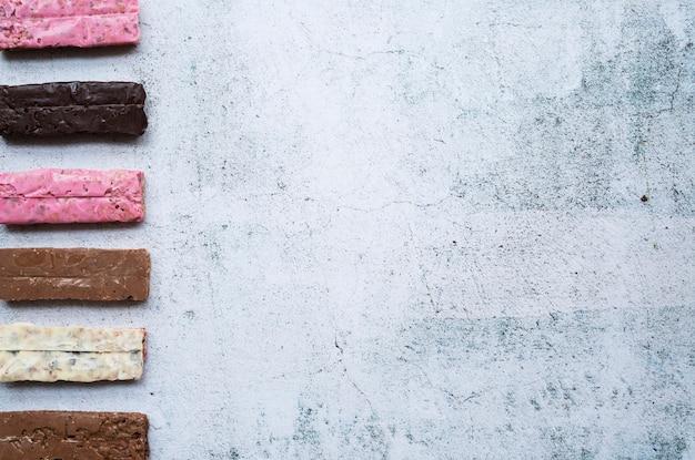 Composition d'aliments sains avec des barres de protéines