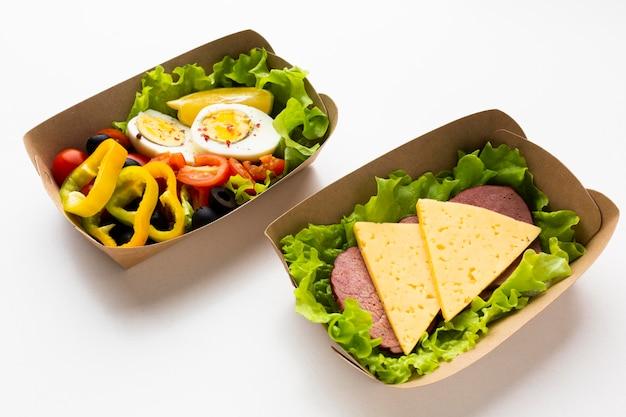 Composition à angle élevé avec différents repas